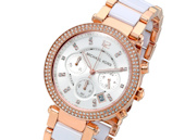 Michael Kors Parker Rose Gold White Chronograph